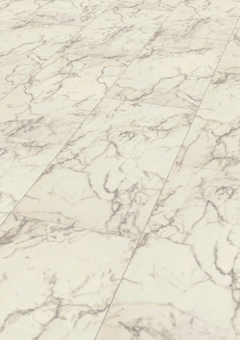De Falquon Carrara Marmor Hoogglans is een moderne laminaat vloer met een marmeren motief. Dit exclusieve laminaat creëert een luxe uitstraling.